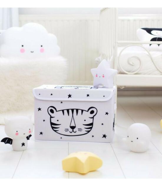 A Little Lovely Company Pop - Up Kapaklı Saklama Kutusu Aslan (Beyaz)
