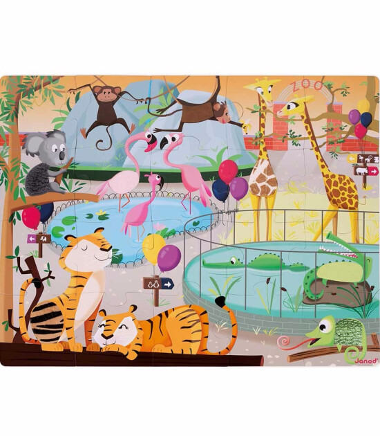 Janod 20 Parça Dokun Hisset Puzzle - Hayvanlarla Bir Gün