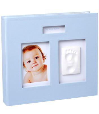 Baby Memory Prints El ve Ayak İzi Deri Hatıra Albümü (Mavi)