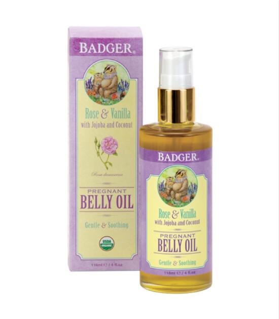 Badger Hamile Karın Bölgesi Çatlak Önleyici Nemlendirici Yağ / Gül & Vanilya (118 ml)