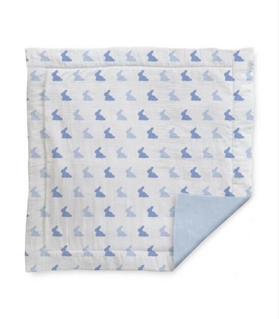 Deux Lapins Bleu Lapin Müslin Oyun Halısı