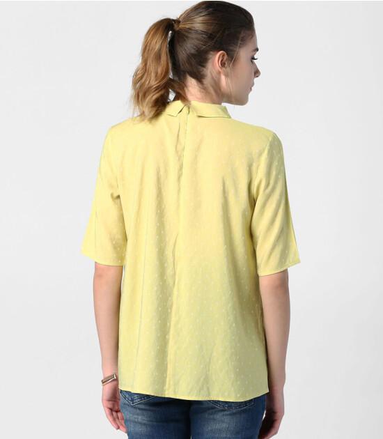 Hooyo Libra Hamile Gömlek Yaka Bluz (Lime)