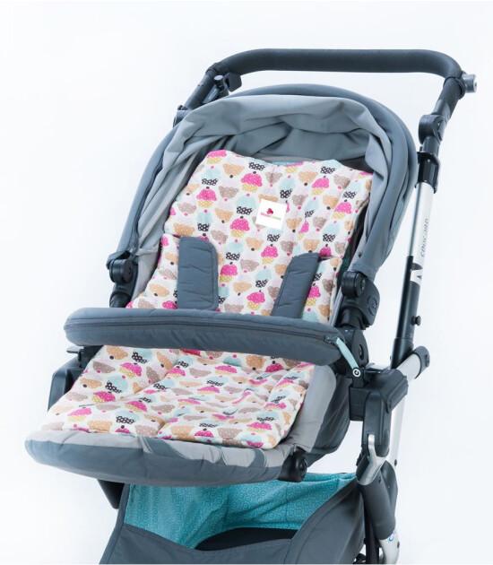 Moms Cotton Bebek Arabası ve Çocuk Sandalyesi Minderi (Cupcake)