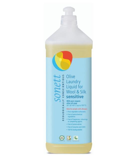 Sonett Organik Yünlü ve İpekliler İçin Nötral Yıkama Sıvısı - Hassas - Zeytinyağı Sabunlu (1 lt)
