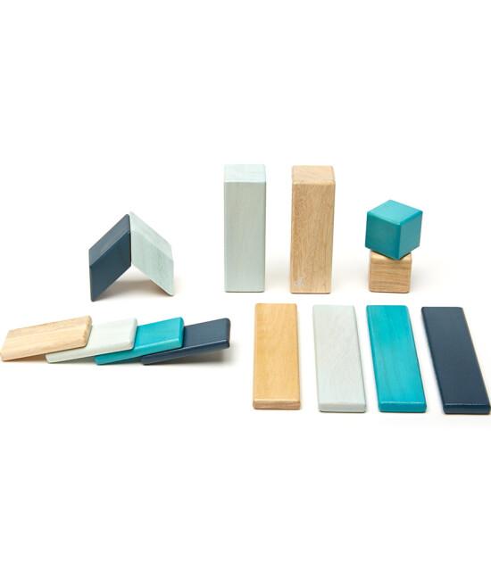Tegu Mıknatıslı Ahşap Oyuncak 14 Parça Klasik Set (Mavi)
