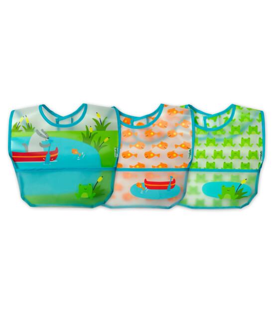 i Play Su Geçirmez EVA Kumaş Bebek Cırtlı Mama Önlüğü - 3'lü Set (Mavi-Yeşil)
