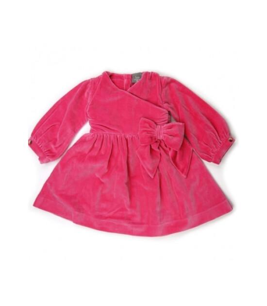 Kate Quinn Organics %100 Organik Uzun Kollu Party Bow Elbise (Hot Pink)