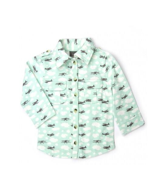 Kate Quinn Organics %100 Organik Uzun Kollu Gömlek (Airplane)