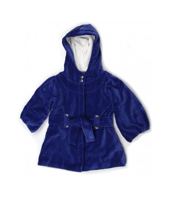 Kate Quinn Organics %100 Organik Belden Bağlamalı Kapüşonlu Kadife Ceket-Monaco Blue