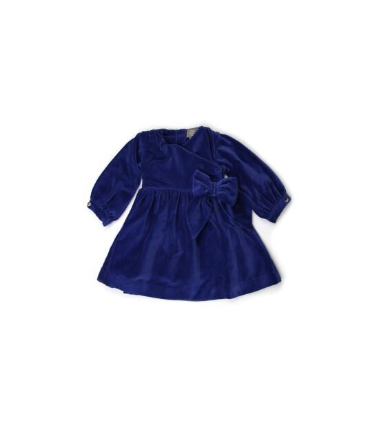 Kate Quinn Organics %100 Organik Uzun Kollu Kadife Elbise (Monaco Blue)