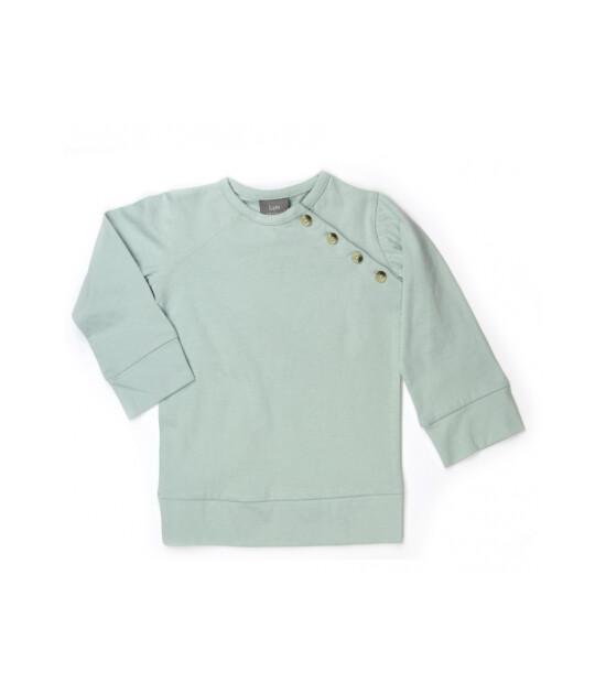Kate Quinn Organics %100 Organik Yandan Düğmeli Sweatshirt (Dusty Aqua)