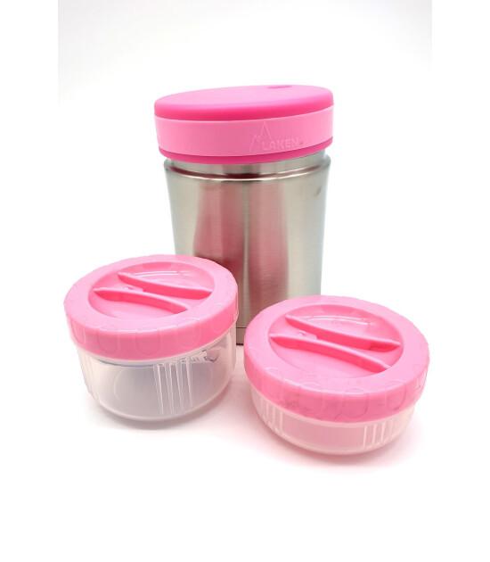 Laken Neoprene Kılıflı Yemek Termosu (1L) // Pink Jirafe