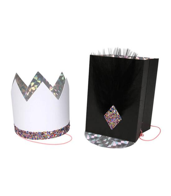 Meri Meri Siyah & Beyaz Parti Şapkaları